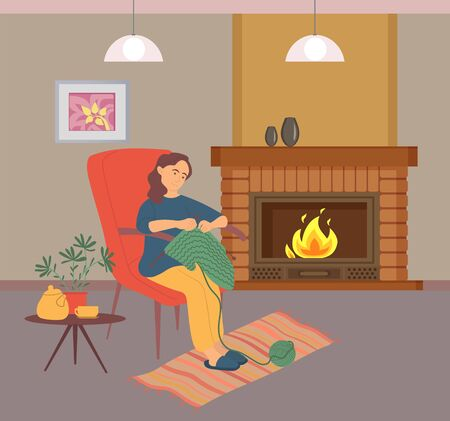 Woman knitting, female in slippers sitting on chair near fireplace, table with teapot and house-plant, person holding needles, needlecraft or hobby vector