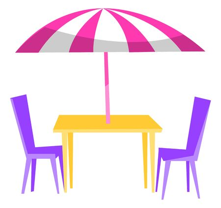 Outdoor restaurant. Table with umbrella and purple chairs. Summer cafe, coffeehouse open terrace. Food service, patio furniture vector illustration Vecteurs