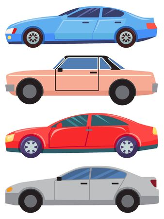 Four cars isolated on white background. Blue and grey sedans. Red small hatchback. Little vehicle pink and old cabriolet. Auto to drive and get your destination quickly. Vector illustration flat style Illustration