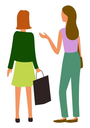 Woman walking together, back view isolated cartoon people. Vector female friends at marketplace, talking girls discussing sales and shopping, flat style