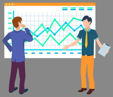 Men workers discussing graph report, teamwork brainstorming. Standing colleagues consulting, celled board with chart, company success, business vector
