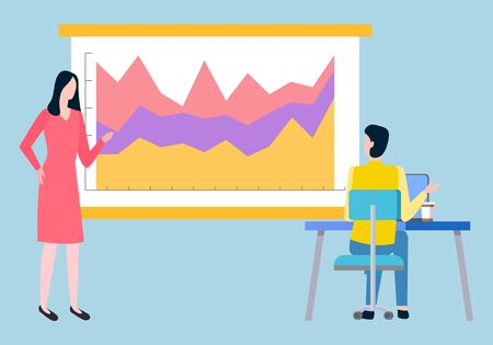 Woman presents financial report, board with investment data. Vector man and woman brokers analyzing trades and discussing statistics of sales on chart Vettoriali