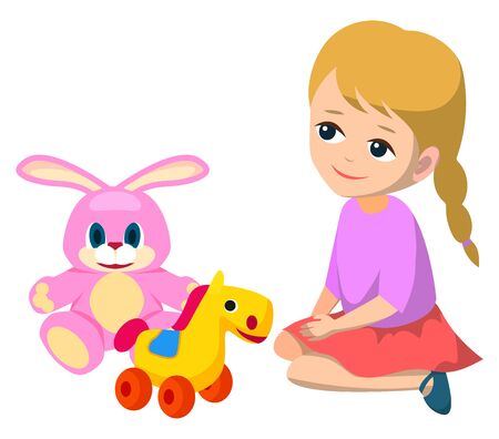 Little girl playing with toys on floor alone. Blonde child in violet blouse and red skirt. Big pink teddy bunny and horse on wheels. Kid isolated on white background. Vector illustration in flat style