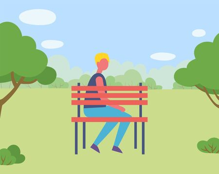 Man character sitting on bench in park or forest, green nature. Harvest festival, countryside place, male on wooden seat near trees, countryside vector Illustration
