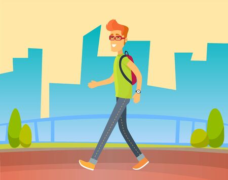 Personage smiling and walking on road vector, flat style character wearing rucksack strolling in town. Cityscapes with skyscrapers and bushes greenery of urban area teenager man with bag on shoulders