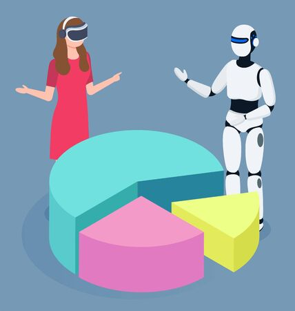 Artificial and human intellect dealing with data analysis. Isolated woman wearing virtual reality glasses and robot looking and diagram with segments. Automated process at work, vector in 3d style