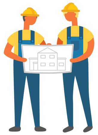 People holding engineering plan and charts vector, isolated characters wearing uniforms. Man with piece of paper and information about construction
