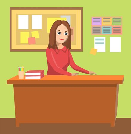 Woman teacher vector, female character working as tutor in college. Table with textbooks, pens and pencils. Board with information pages, back to school concept. Flat cartoon