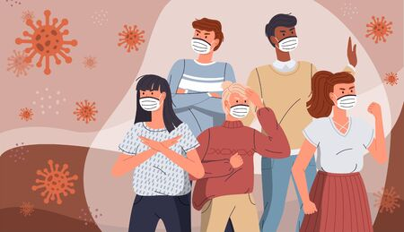 Coronavirus quarantine. Group of people wearing face medical masks to prevent disease protecting from virus, flu, air pollution, contaminated air, world pollution. Crowd of people surrounded covid
