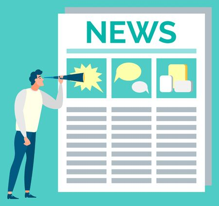 Newspaper broadcasting vector, isolated man looking at news with text and pictures. Article with headline, events in journal, publication for businessman