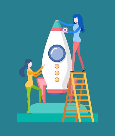 Working people on launching of business project vector, woman with details to complete spaceship, lady standing on ladder holding rocket startup flat style