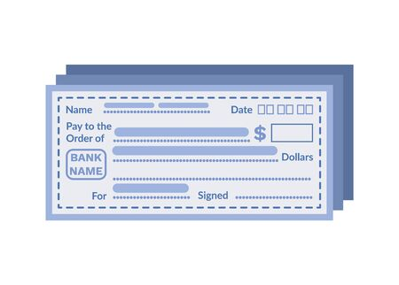 Check vector, empty form containing name of bank, date of transaction and holder name with detailed info about receiver, isolated icon in flat style