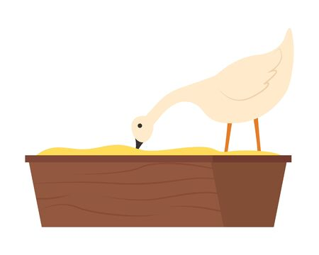 Goose standing in wooden bowl and eating grain or bean meal, side view of white farm animal, feeding countryside bird, fowl character, farming vector Illusztráció