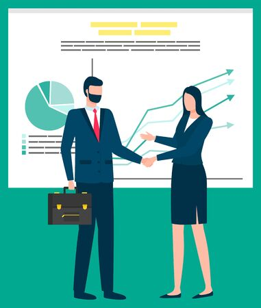 Business collaboration vector, man and woman businessman and businesslady manager and secretary. Whiteboard with charts and stats information on board