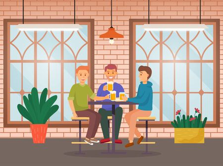 Friends spending time together in bar. Meeting of men with alcohol drinks like beer or ale. People sitting in pub and talking. Interior of cafe with houseplants and window. Vector illustration in flat Stock Illustratie