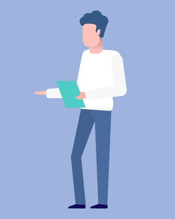 Man investor with sheet of paper isolated cartoon person. Vector male read documents or make a report on investment, investor or businessman, young worker