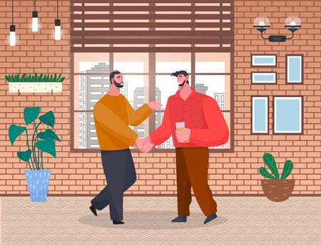 Two men greet each other on home reception. Friends spending leisure time together. People talk on banquet or meeting with drinks. Room interior with houseplants and window. Vector illustration