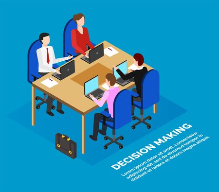 Office or bank employees sitting at table, data analysis, business meeting vector. Working moments of briefing or summing up and decision-making process. Workers at table with laptops, isometric Vecteurs