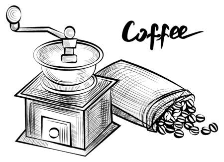 Coffee grinder vector, monochrome sketch outline equipment for beverage making and brewing. Beans in sack, espresso and americano for breakfast flat style