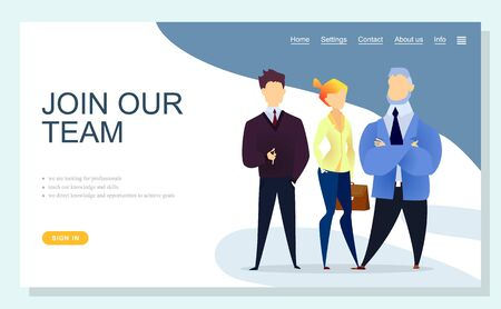 Join our team get best service online app slider. Man and woman worker characters wearing suit standing together teamwork power. Website or webpage template, landing page flat design style vector Illustration