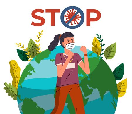 Young girl in face medical mask show fight gesture with spreading virus at earth background. Concept of coronavirus world spreading. Prevention, crossed out sign. Quarantine concept, world pandemic