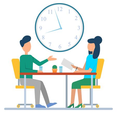 Colleagues discussing working issues in office, sitting at desk. Big clock hanging on wall. Time management concept, business organization vector Иллюстрация