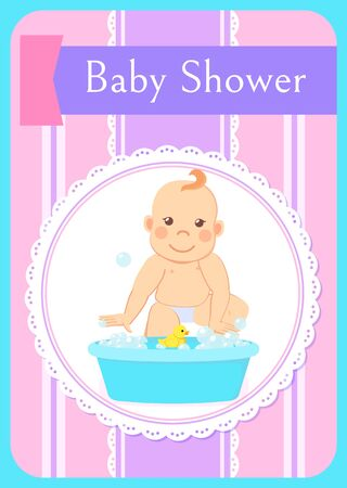 Baby shower greeting card, infant bathing in basin with water, new born child. Toddler milestones from 6 to 12 take a bath with rubber yellow duck Illustration