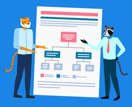 Hipster animal raccoon and tiger discussing, scheme report. Portrait view of standing colleagues, entrepreneur brainstorming, speaker presentation vector Çizim