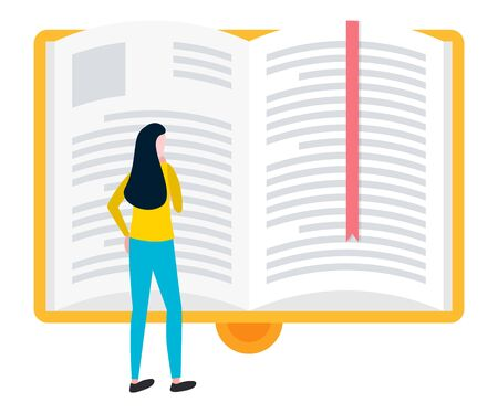 Woman reading big open book with bookmark, knowledge source and literature. Vector e-learning concept, e-book icon in yellow hard cover, female reader