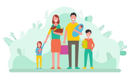 Father and mother with children vector, newborn baby and parents with kids. Daughter and son walking with bag, family day spent together flat style