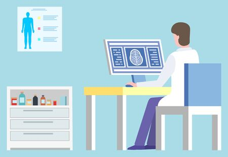 Doctor in laboratory working on scan diagnostics vector, man wearing white coat in hospital. Clinic and medical care, board with human body and cabinet