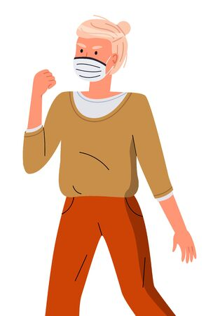 Isolated portrait of young woman wearing face medical mask show fight gesture at white background. Viral pandemic, stop spreading viral infection. Cartoon character in vector style protesting