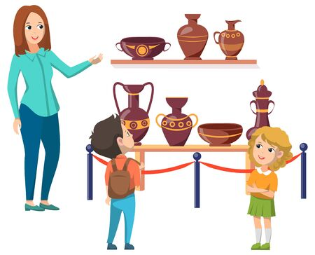 Schoolkids in historic museum. Guide telling about culture and lifestyle of ancient people. Old vases and crockery as exhibit. Flat cartoon vector illustration