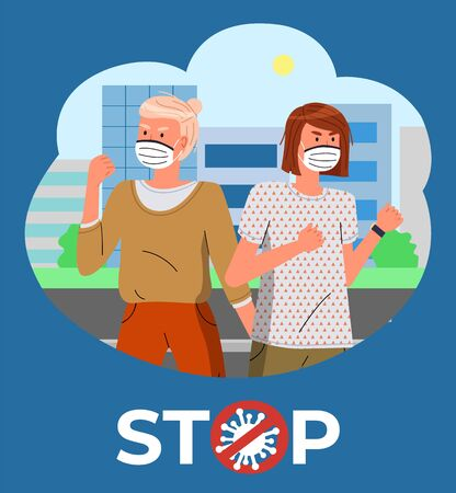 Two girls in face medical masks at background of modern city. Blue banner with stop crossed out sign. Women calling to fight with spreading virus. Respiratory disease, world infectious pandemic