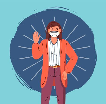 Portrait of vector cartoon character in face medical mask show stop gesture at colorful vector elements background. Concept of world epidemic. Young woman protect from virus with respiratory mask
