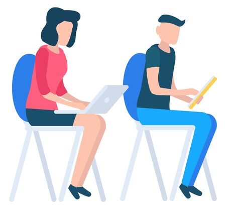 Man and woman sitting on chairs and using electronic devices. Lady with modern laptop typing on keyboard. Guy with yellow tablet in hands. People isolated on white background vector illustration