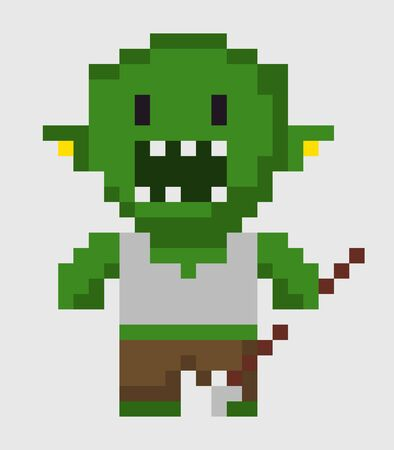 Pixel character vector, zombie with weapon, isolated green troll with scary look and angry face, frightening man villain of game, pixelated personage