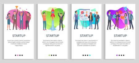 Startup presentation of businessman vector, person with partners on meeting, gathering of entrepreneurs, male with prize achievement of team. Website or slider app, landing page flat style