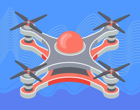 Red drone flying closeup at skyvector, isolated device with propeller flight of new technologies. Flat style gadget with wings and core. Aviation and aerial items, helicopter illustration of aero