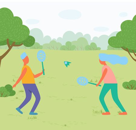 Outdoor activity or sport, girl and guy playing badminton in park vector. Rackets and shuttlecock, meadow and nature, sporting equipment, trees and bushes