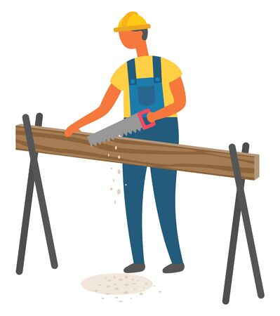 Carpenter man with hand saw vector, isolated character builder man. Male wearing special protective helmet, carpentry and construction, repairing fixing