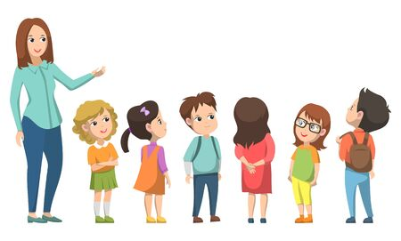 Teacher standing with pupils and showing, girl and boy looking. Elementary school, classmates education, tutor teaching, school-children discussing vector 向量圖像
