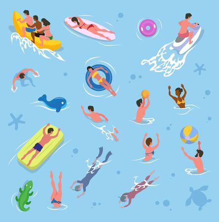 Summer vacation vector, pool activities summertime holidays. Friends sitting in banana boat, lady laying in surfboard. People playing volleyball games, inflatable crocodile and mattress. Swimming man