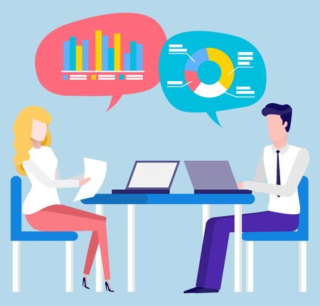 Brokers cooperation, trade and sales, financial consultant or bank workers. Vector people sitting at table and typing on laptop, graphs and charts in thoughts Vettoriali