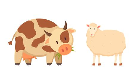 Cow and sheep isolated cartoon style animals. Vector spotted young bovine calf and white lamb or mutton, ruminant domesticated cartoon style pets