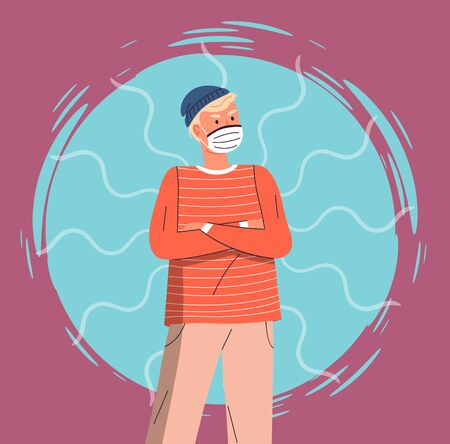 Portrait of vector cartoon character in face medical mask crossed hands at chest at colorful vector elements background. Concept of world epidemic. Young man protect from virus with respiratory mask