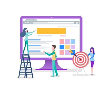 Woman standing on stairs, monitor with web page, portrait view of workers, darts and target. Using gadget with website, people working with pc vector