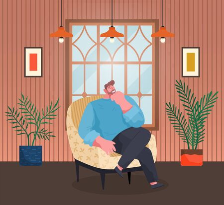Pensive man sitting in armchair thinking or dreaming with smile on face. Bachelors in apartment, interior design with plants and furniture. Modern flat of tranquil male character in sofa, vector