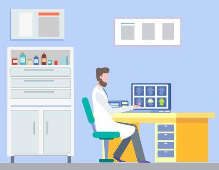 Arzt sitzt im Schrank und betrachtet die Ergebnisse der Magnetresonanztomographie oder Computertomographie. Medizinische Diagnose, Krankheitsbehandlungsvektor Vektorgrafik