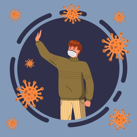 Cartoon icon, portrait of man in respiratory medical mask isolated in circle, flying virus pathogen around. Young guy show stop gesture to virus spreading. Cartoon character in flat vector style Ilustração